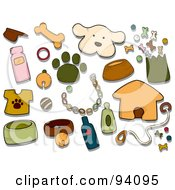 Royalty Free RF Clipart Illustration Of A Digital Collage Of A Group Of Canine Icons And Items