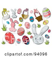 Royalty Free RF Clipart Illustration Of A Digital Collage Of A Group Of Easter Icons And Items by BNP Design Studio