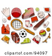 Royalty Free RF Clipart Illustration Of A Digital Collage Of A Group Of Sports Icons And Items