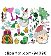 Royalty Free RF Clipart Illustration Of A Digital Collage Of A Group Of Christmas Icons And Items
