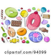 Royalty Free RF Clipart Illustration Of A Digital Collage Of A Group Of Sweet Icons And Items