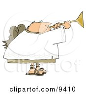 Balding Male Angel Playing A Horn Clipart Illustration