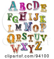 Royalty Free RF Clipart Illustration Of A Digital Collage Of Colorfully Patterned Capital Alphabet Letters
