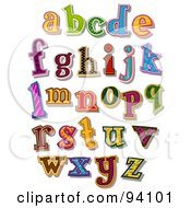 Royalty Free RF Clipart Illustration Of A Digital Collage Of Colorfully Patterned Lowercase Alphabet Letters