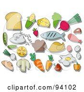 Royalty Free RF Clipart Illustration Of A Digital Collage Of A Group Of Nutrition Icons And Items by BNP Design Studio