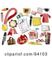 Royalty Free RF Clipart Illustration Of A Digital Collage Of A Group Of Education Icons And Items