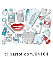 Digital Collage Of A Group Of Dental Icons And Items