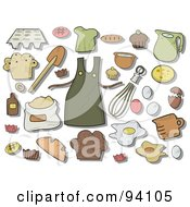 Royalty Free RF Clipart Illustration Of A Digital Collage Of A Group Of Baking Icons And Items