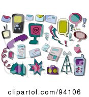 Royalty Free RF Clipart Illustration Of A Digital Collage Of A Group Of Communications Icons And Items by BNP Design Studio