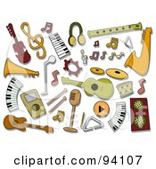 Royalty Free RF Clipart Illustration Of A Digital Collage Of A Group Of Music Icons And Items by BNP Design Studio
