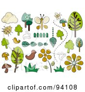 Royalty Free RF Clipart Illustration Of A Digital Collage Of A Group Of Nature Icons And Items by BNP Design Studio