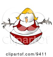 Blond Female Snowman Snow Woman In A Red Bikini
