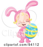 Royalty Free RF Clipart Illustration Of A Little Girl In A Pink Bunny Costume Holding An Easter Egg
