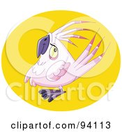 Royalty Free RF Clipart Illustration Of A Chubby Pink Parrot Bird In A Yellow Circle by yayayoyo