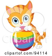 Royalty Free RF Clipart Illustration Of A Cute Orange Kitten Resting His Paws On A Rainbow Easter Egg