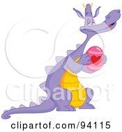 Purple Dragon Holding A Heart Easter Egg