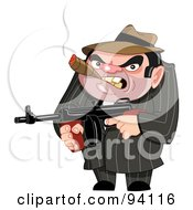 Royalty Free RF Clipart Illustration Of A Mean Mafia Ganster Holding A Gun And Smoking A Cigar by yayayoyo