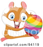 Royalty Free RF Clipart Illustration Of A Cute Energetic Hamster Holding A Rainbow Easter Egg