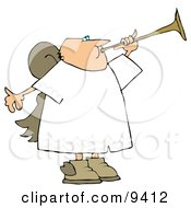 Bald Male Angel Playing A Horn Clipart Illustration