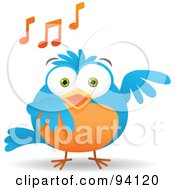 Musical Blue And Orange Bird Singing With Music Notes