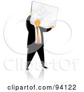 Royalty Free RF Clipart Illustration Of An Orange Faceless Businessman Holding Up A Puzzle by Qiun