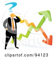 Royalty Free RF Clipart Illustration Of An Orange Faceless Businessman Confused By The Economic Ups And Downs