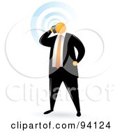 Royalty Free RF Clipart Illustration Of An Orange Faceless Businessman Talking On A Cellular Phone by Qiun
