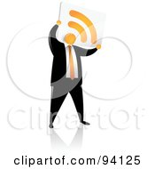 Royalty Free RF Clipart Illustration Of An Orange Faceless Businessman With An RSS Head by Qiun