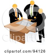 Royalty Free RF Clipart Illustration Of Orange Faceless Businessmen Discussing A Project Plan by Qiun