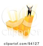 Royalty Free RF Clipart Illustration Of An Orange Faceless Businessman Celebrating On The Top Of An Orange Bar Graph