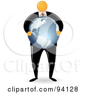 Royalty Free RF Clipart Illustration Of An Orange Faceless Businessman Carrying A Globe