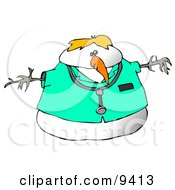 Doctor Snowman Wearing A Stethoscope Clipart Illustration by djart