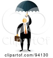 Royalty Free RF Clipart Illustration Of An Orange Faceless Businessman Protected Under An Umbrella by Qiun