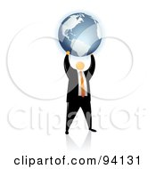 Royalty Free RF Clipart Illustration Of An Orange Faceless Businessman Holding Up A Globe by Qiun