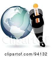 Royalty Free RF Clipart Illustration Of An Orange Faceless Businessman Leaning On A Globe by Qiun #COLLC94132-0141