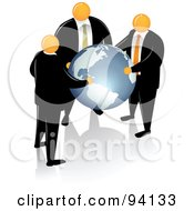Royalty Free RF Clipart Illustration Of Orange Faceless Businessmen Supporting A Blue Globe by Qiun