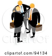 Royalty Free RF Clipart Illustration Of An Orange Faceless Businessman Introducing Partners