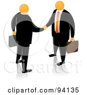 Royalty Free RF Clipart Illustration Of Orange Faceless Businessmen Shaking Hands by Qiun