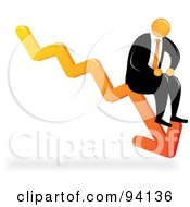 Royalty Free RF Clipart Illustration Of An Orange Faceless Businessman Sitting On A Downturn Arrow by Qiun