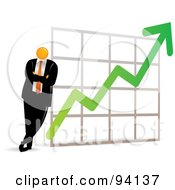 Royalty Free RF Clipart Illustration Of An Orange Faceless Businessman Leaning Against A Profit Chart