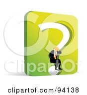 Orange Faceless Businessman Sitting In A Green Question Mark Wall