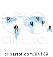 Royalty Free RF Clipart Illustration Of A Map Of Connected Orange Faceless Businessmen In A Network