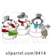 Dog Urinating On A Snowman Clipart Illustration by Dennis Cox