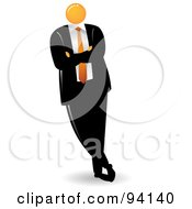 Royalty Free RF Clipart Illustration Of An Orange Faceless Businessman Leaning To The Left