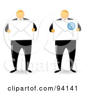 Royalty Free RF Clipart Illustration Of A Digital Collage Of An Orange Faceless Businessman Shown Holding Envelopes by Qiun