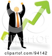 Royalty Free RF Clipart Illustration Of An Orange Faceless Businessman Celebrating By A Growth Arrow