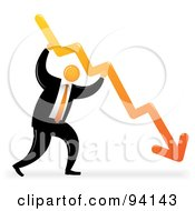 Royalty Free RF Clipart Illustration Of An Orange Faceless Businessman Holding A Decline Arrow