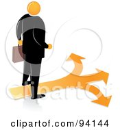 Royalty Free RF Clipart Illustration Of An Orange Faceless Businessman Over Orange Arrows Heading In Different Directions by Qiun
