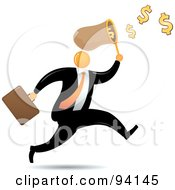 Orange Faceless Businessman Running And Catching Dollars In A Net
