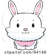 Royalty Free RF Clipart Illustration Of A Cute White Bunny Rabbit Looking Front